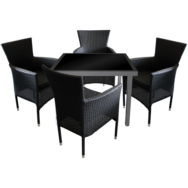5tlg. Gartengarnitur Gartentisch Aluminium Glastisch 90x90cm + 4x Poly Rattan Gartensessel stapelbar inklusive Sitzkissen Schwarz