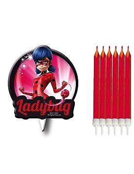 7 Velas de Ladybug para tarta de cumpleaños (6 rojas + 1 ...