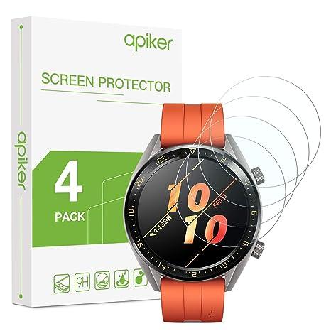 apiker Lot de 4 Verre Trempé Compatible pour Huawei Watch GT/GT Active (1.39 Pouces), Installation Facile, Ultra Résistant Dureté 9H, Protection écran ...