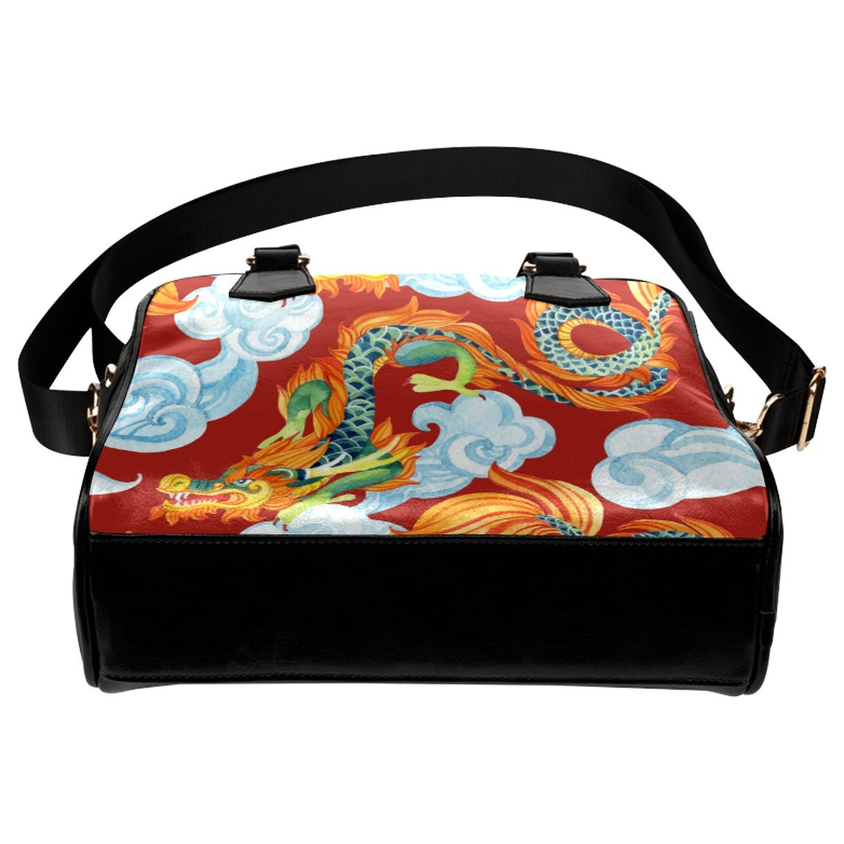 CASECOCO Chinese Dragon Red Womens PU Leather Purse Handbag Shoulder Bag