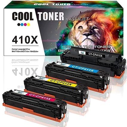 Cool Toner Cartucho de tóner para HP 410X CF410X CF411X CF412X CF413X CF410A 410A HP Color Laserjet Pro MFP M477fdw HP M477fdn M477fnw M452nw Negro, ...