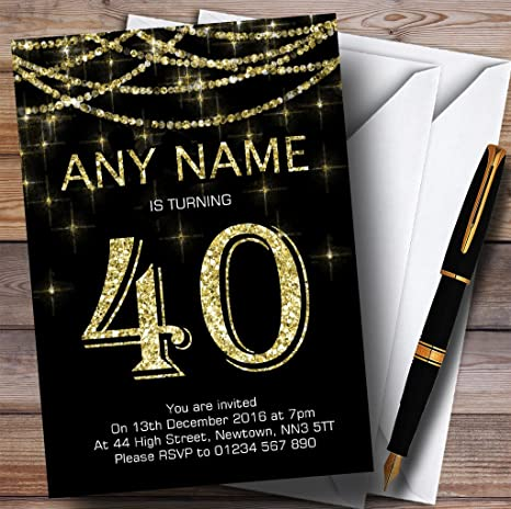 Black Gold Sparkly Garland 40th Inviti Per Festa Di Compleanno