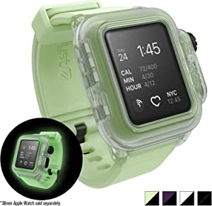 Waterproof Apple Watch Case 38mm Series 2 with Premium Soft Silicone Apple Watch Band by Catalyst, Shock Proof Impact Protection, Glow in The Dark