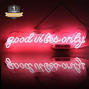 Neon Signs Good Vibes Only, Neon Light Sign Led Neon Lamp, Wall Sign Art Decorative Signs Lights, Neon Words for Home Bedroom Room Decor Bar Beer Office for Party Holiday Wedding Decoration Sign
