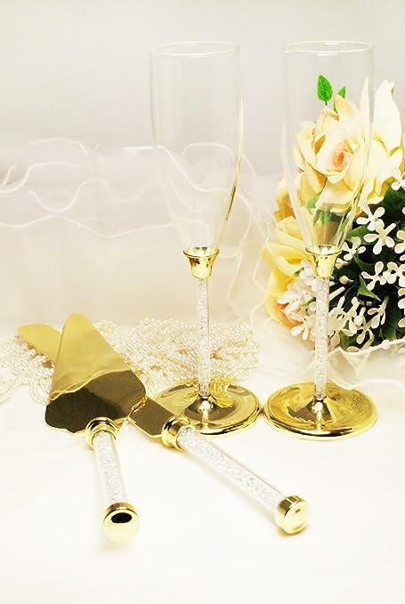 Amazon.com : Gold Wedding Toasting Glass Knife and Wedding Cake ...