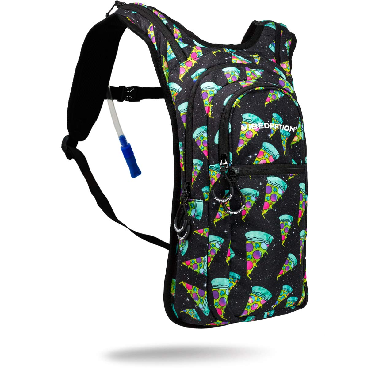 Vibedration VIP 2 Liter Hydration Pack | Festival Rave Hydration, Hiking Camping Backpack (Cosmic Pizza)