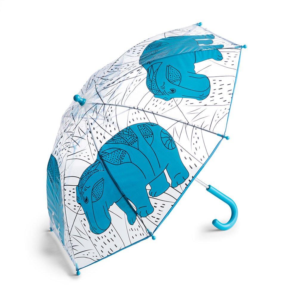 The Metropolitan Museum of Art Compact Lightweight Kid's Umbrella, Clear Hippo Print