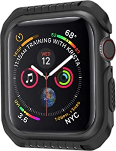 XinywTech Compatible Apple Watch case 44mm ,Shock-proof and Shatter-resistant Protector Bumper iwatch case Compatible Apple Watch Series 4 44mm,black