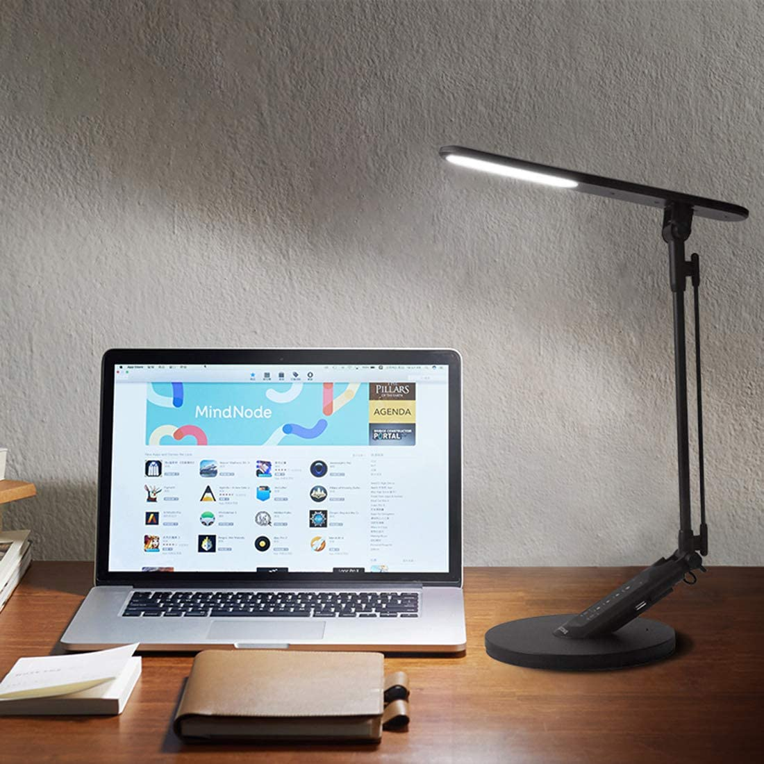 HDTIME Desk LED Lamp with USB Charging Port Touch-Sensitive Control with 1-Hour Timing Function,4 Lighting Modes with 7 Brightness Levels 36PCS LEDs(Black): Home Improvement