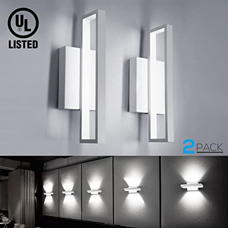 2 pack 12w led square wall sconce lights 75w equiv 660lm surface 2 pack 12w led square wall sconce lights 75w equiv 660lm surface mounted led aloadofball Image collections