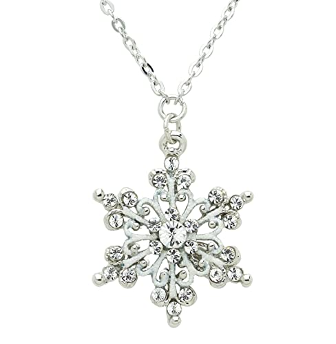 Akianna Silver-tone Swarovski Element Crystal Scroll Snowflake Pendant Necklace, 18 2 inch