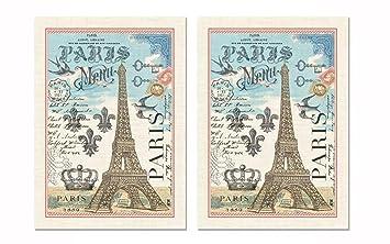 Michel Design Works Kitchen Towel, Paris Design, 100% Cotton Kitchen Towl,  Multicolor Part 20