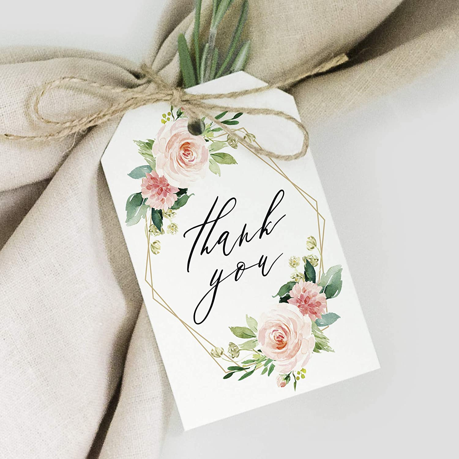 Bliss Collections Geometric Floral Favor Thank You Tags — Greenery, Pink Blush Flower Design, Perfect for: Wedding Favors, Baby Shower, Bridal Shower, Birthday or Special Event — 50 Pack
