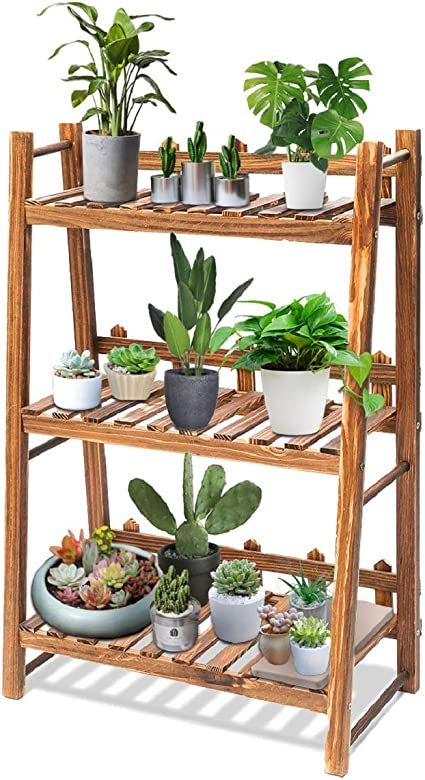 Amazon Com Tooca Plant Stand Wood Indoor 3 Tier Steady Vertical Non Slipage Tiered Plant Ladder Outdoor Plant Shelf Carbonized 24 X 12 X 35 Garden Outdoor