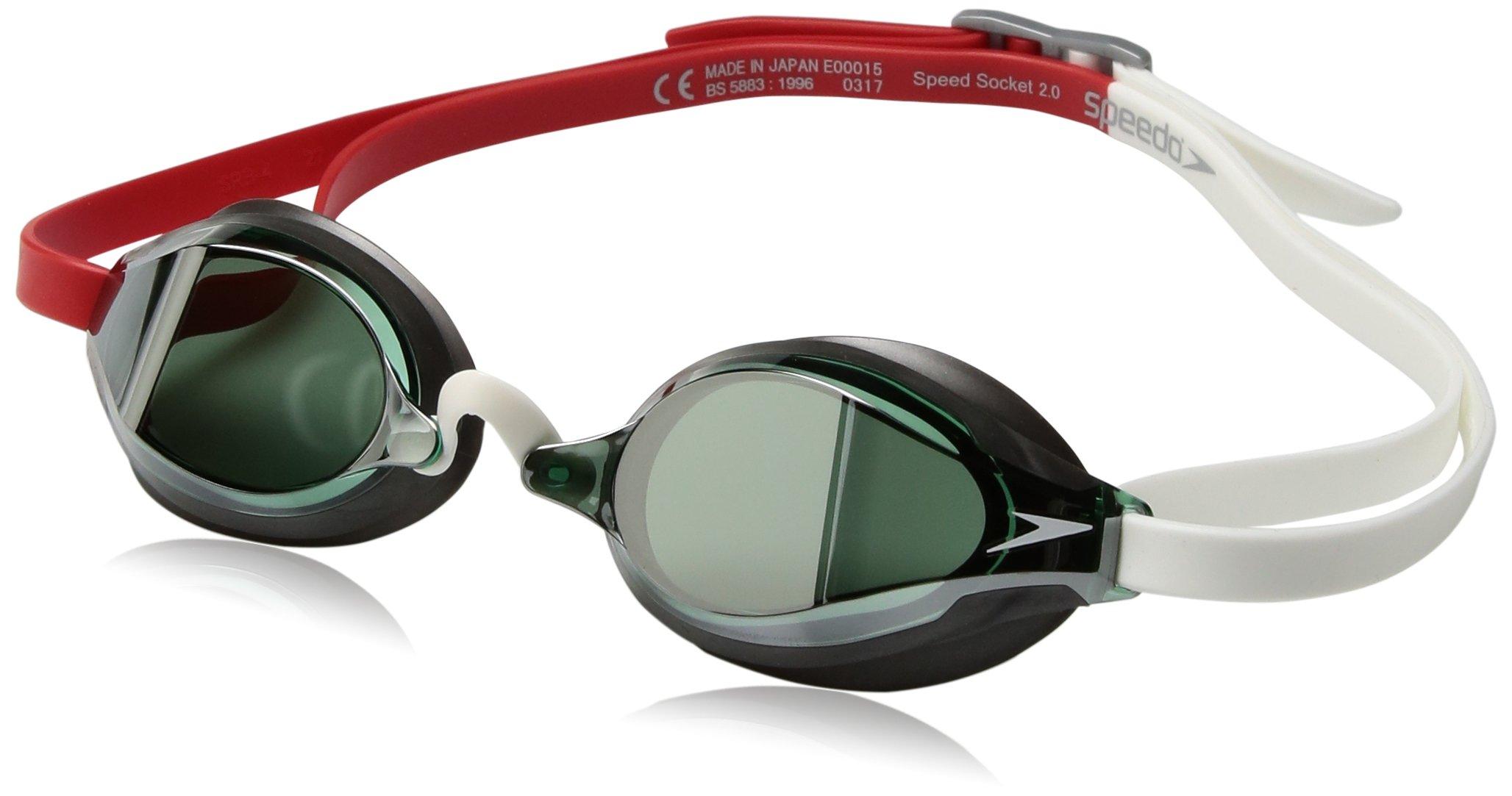 Speedo Speed Socket 2.0 Mirrored Swim Goggles, Curved, Anti-Glare, Anti-Fog with UV Protection, Fiery Red, 1SZ