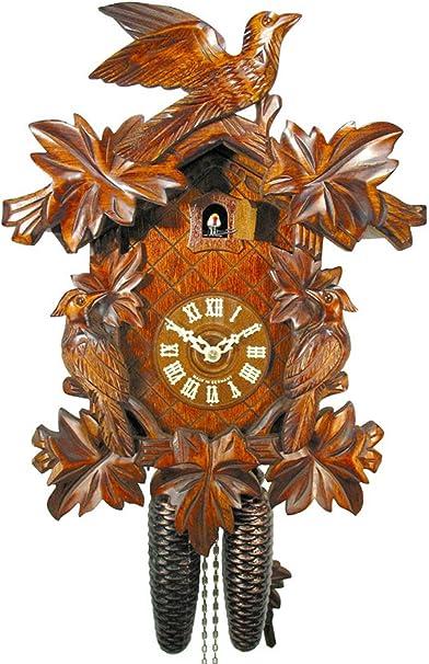 meccanico 5/Foglie di foglie kukuks Orologio di 8/giorni Werk kukus Orologio Bel regalo di natale Orologio a cuc/ù foreste NERO//NERO foresta di orologio Original, CERTIFICATA 1/Uccello kuckuks Orologio