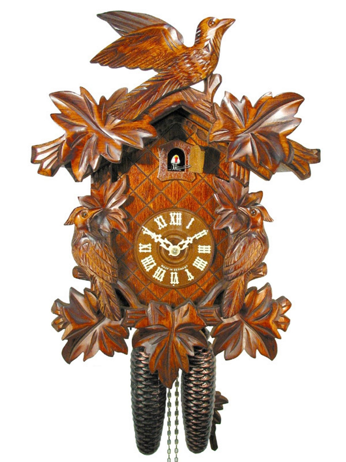Original German cuckoo-clock (certified), mechanical 8-day movement with 3 birds and 7 leaves, coo-coo clocks from the Black-Forest, Germany by DV-Marketing, original Black Forest cuckoo clocks