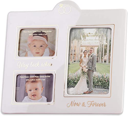 Kate Aspen Now Then Ceramic Photo Gold Foil Frame, One Size, White