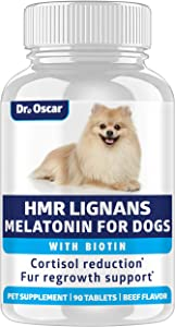 HMR Lignans for Dogs and Melatonin for Dogs Cushings. Adrenal Support for Dogs, Give with Cushings Treatment for Dogs. Added Biotin for Dogs Coat Health. Better Than Flaxseed Lignans for Dogs, USA