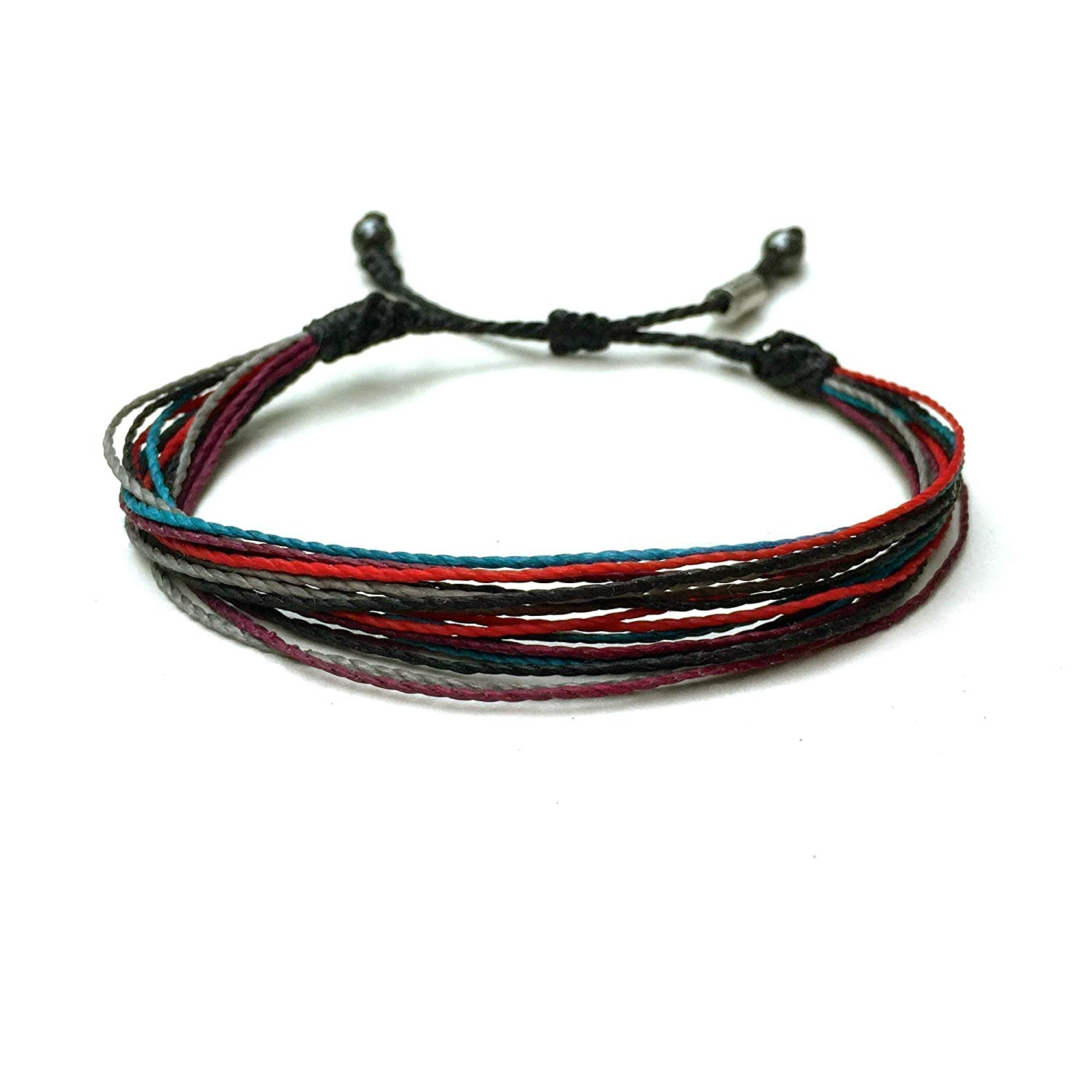 Men's String Bracelet in Black, Red, Turquoise, Plum and Gray with Hematite Stones: Handmade Surf Bracelet for Men with Wrist Sizes 6-7