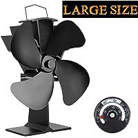 Ventilateur à poêle alimenté par la chaleur, avec 4 lames pour le bois/Brûleur à bois/Cheminée, noire, écologique, augmente l'air chaud de 80% plus que les ventilateurs à 2 lames