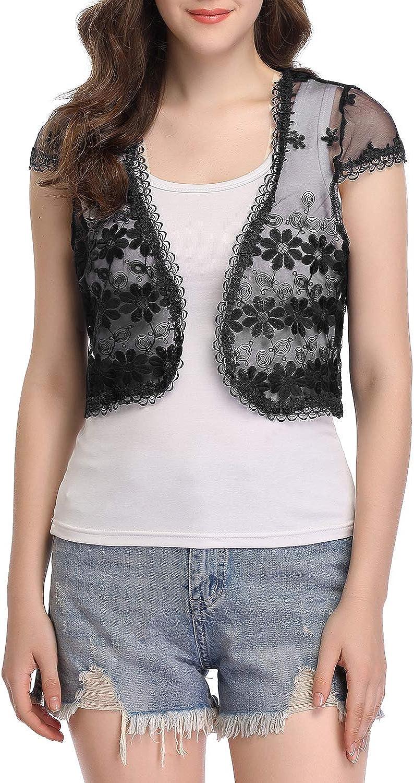 Women Lace Sheer Jacket Shrug Bolero Crop Top Shirts 3//4 Sleeve Cardigan Outwear