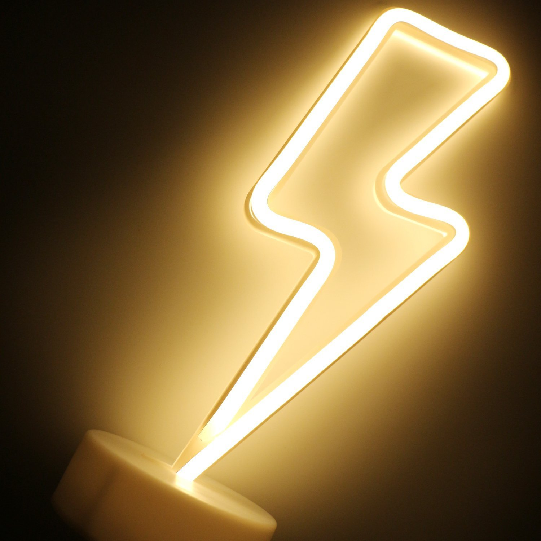 XIYUNTE Étoile néon Light avec base Veilleuses, LED Étoile Lampes d'ambiance Blanc chaud Signes Batterie Opération veilleuses, Luminaires intérieur décoration pour le