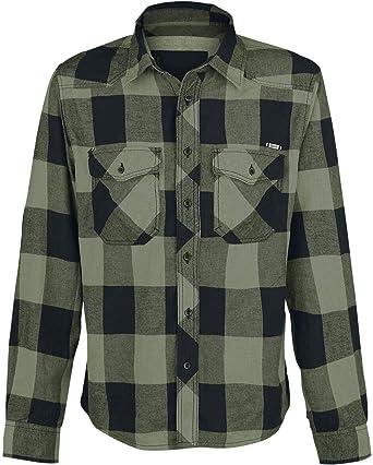 Brandit Camisa a Cuadros Hombre Camisa de Franela Negro/Aceituna, Labelpatch Regular: Amazon.es: Ropa y accesorios