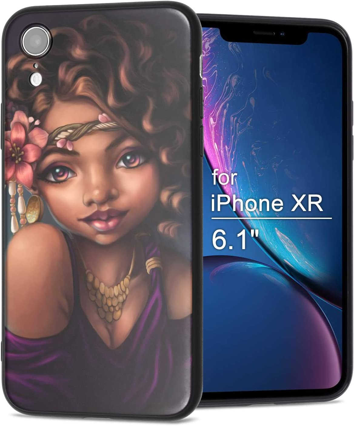 iPhone XR Case African American Afro Girls Women Slim Fit Shockproof Bumper Cheap Cell Phone Accessories Thin Soft Black TPU Protective Apple iPhone XR Cases (06)