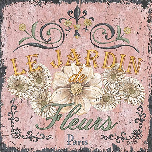 JH Lacrocon Canvas Wall Art Rolled - Le Jardin I Painting Vintage Word Art Painting Prints - 40X40 cm (Approx. 16X16 inch)