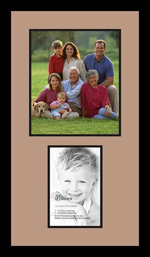 Art to Frames Double-Multimat-1258-868//89-FRBW26079 Collage Photo Frame Double Mat with 1-6.125x9.25 10.25x12 Openings and Satin Black Frame