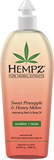 product image for Hempz Hydrating Bath and Body Oil for Women, Sweet Pineapple & Honey Melon, 6.75 fl. oz. - Conditioning Body Moisturizer with Natural Hemp Seed Oil, Vitamins A & E for Dry Skin - Premium Body Oils