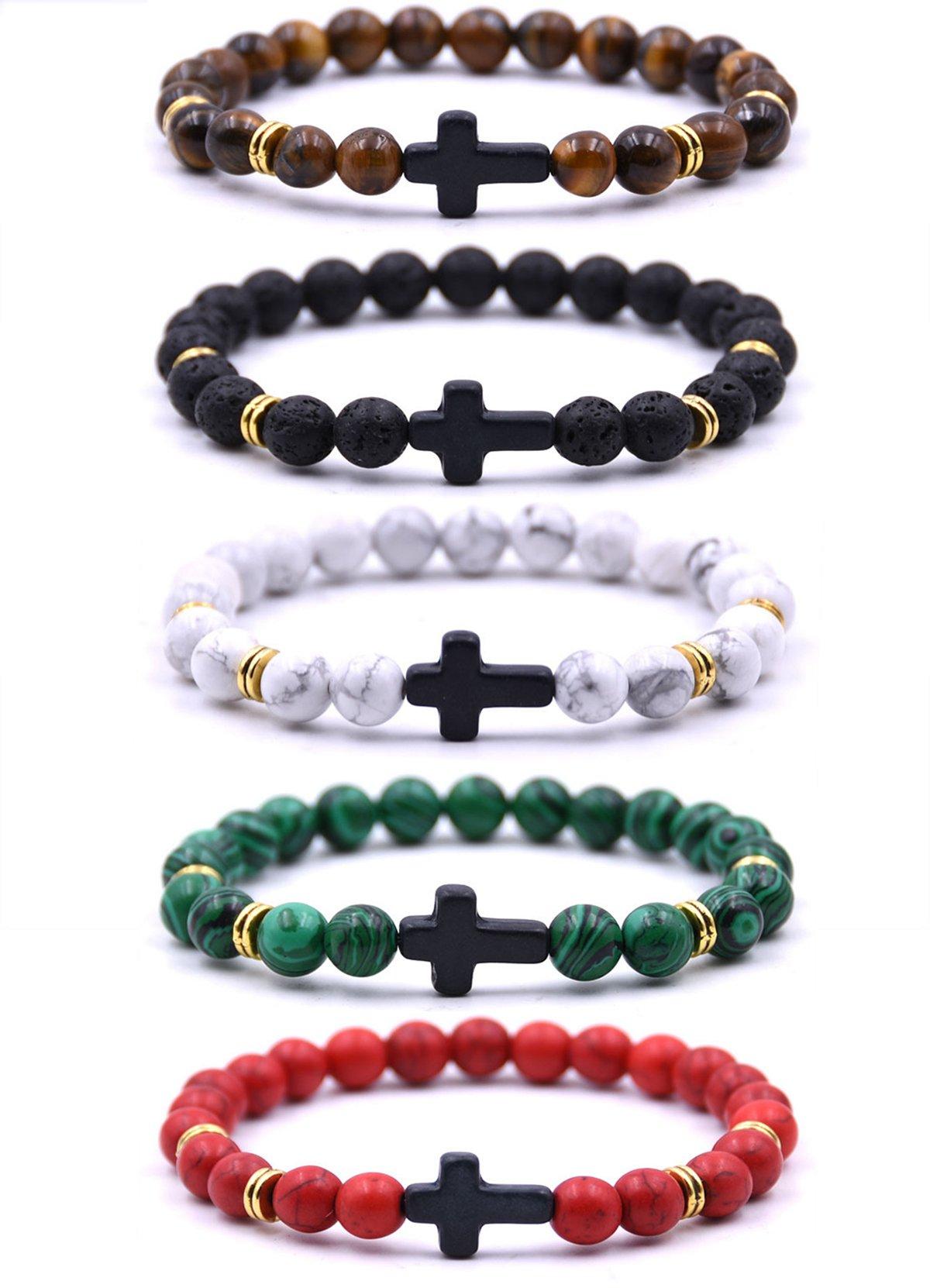 EVELICAL 5Pcs Bead Bracelet for Men Women Lava Rock Stone Cross Bracelet Elastic by EVELICAL