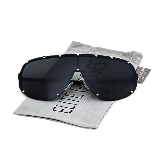 255a1b368ed Oversize XXL Huge Large Shield Wrap Big Mask Polarized Sunglasses (Black