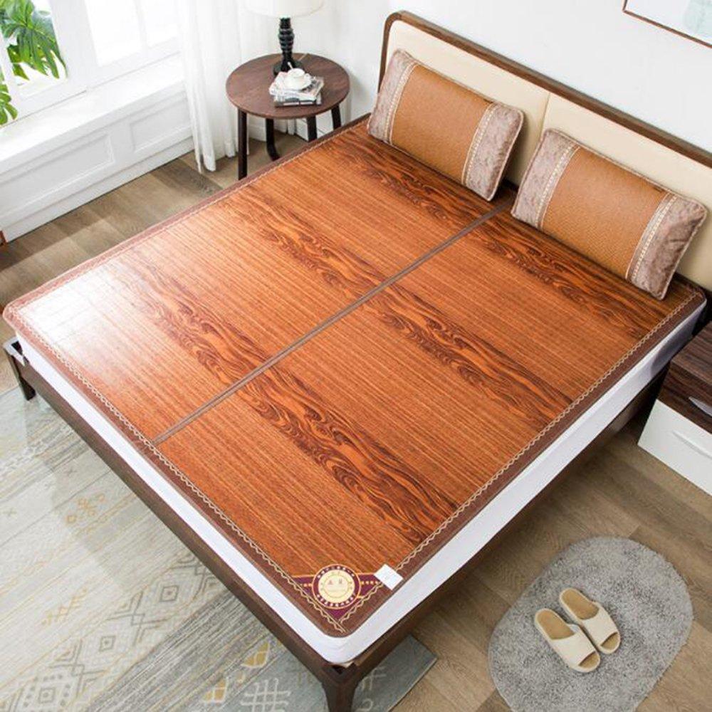 Zzaini Double Sided Summer Sleeping Mat, Folding Topper Pad Rattan Topper Pad-B 180x200cm(71x79inch)