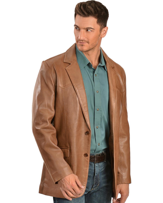 Scully Men's Lamb Leather Blazer Regular Antique Brown 44 R