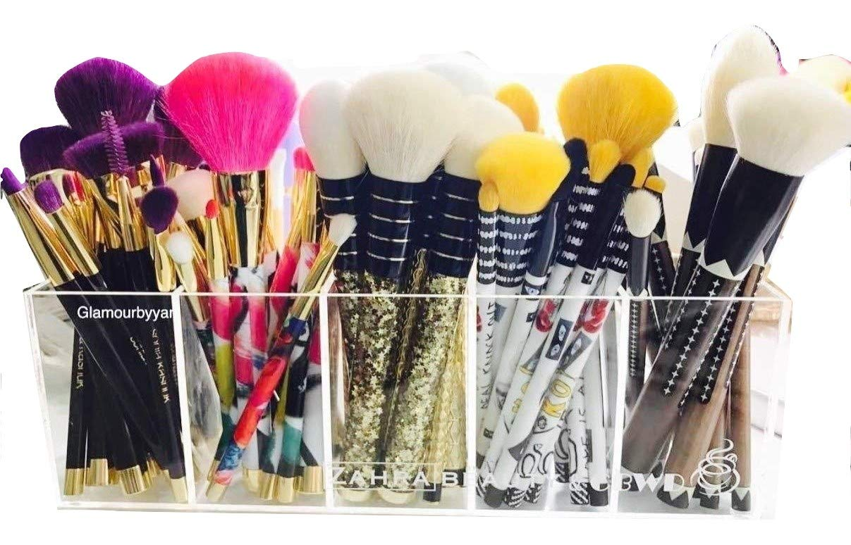 Acrylic makeup organizer 5 slot organizer for brushes, lipsticks, lip glosses, liners, or even pencils
