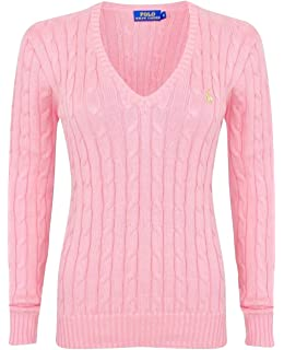 Polo Ralph Lauren Cable Knit V Neck Cotton Pullover Kimberly