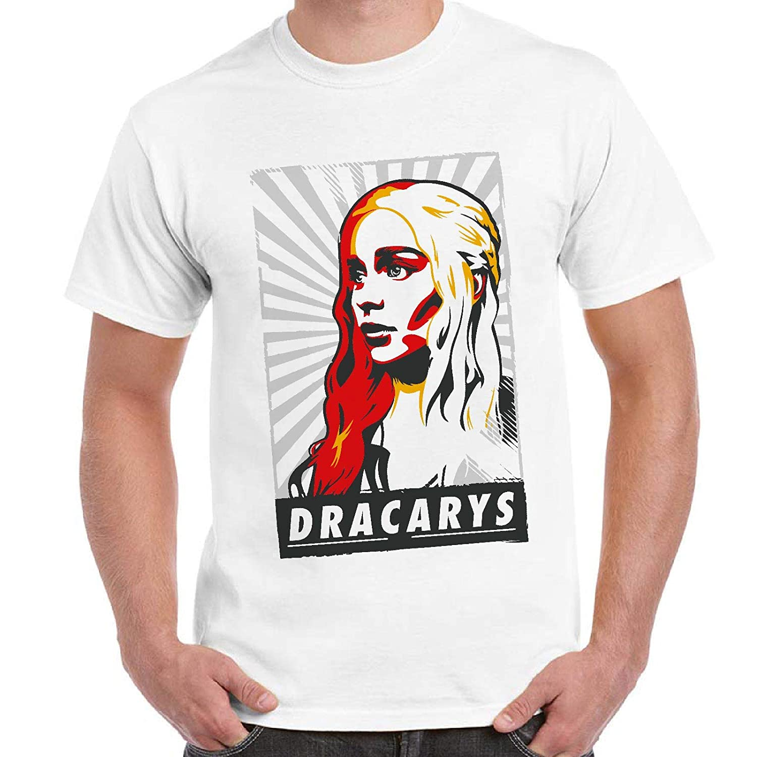 T-Shirt Divertente Uomo Maglietta con Stampa Ironica Game of Thrones Daenerys Dracarys