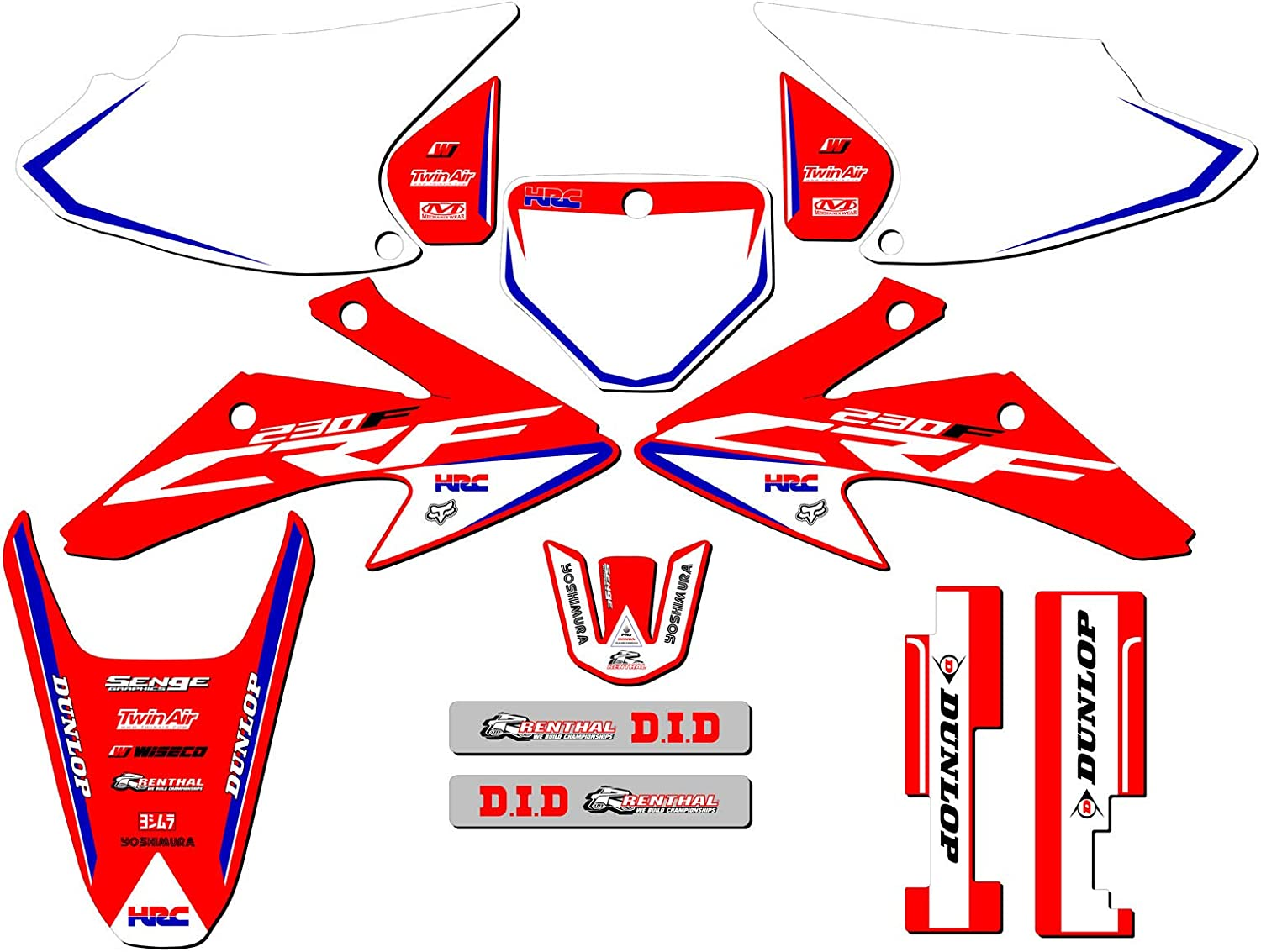 CUSTOMIZABLE Senge Graphics Kit with RIDER I.D compatible with Honda 2007-2019 CRF 150R Works Red Complete Graphics Kit with RIDER I.D.
