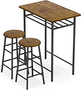 WeeHom 3 Pieces Bar Table Set, Modern Pub Table and Chairs Dining Set, Kitchen Counter Height Dining Table Set with 2 Bar Stools, Built in Storage Layer, Easy Assemble, Brown