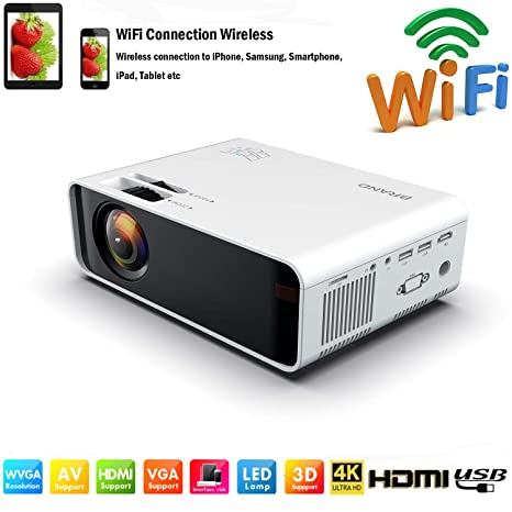 SOTEFE Mini LED Projector Portable 7000 Lumens-WiFi Video Projectors 1080P Full HD for iPhone Samsung Smartphone Wireless Projector HDMI 75000 Hours ...