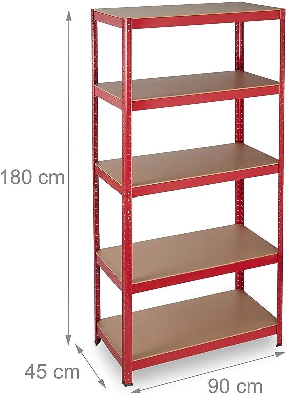 Relaxdays Estantería de Carga Pesada, 875 kg, Cinco estantes, Ensamblable, Despensa, Garaje, 180x90x45 cm, Rojo
