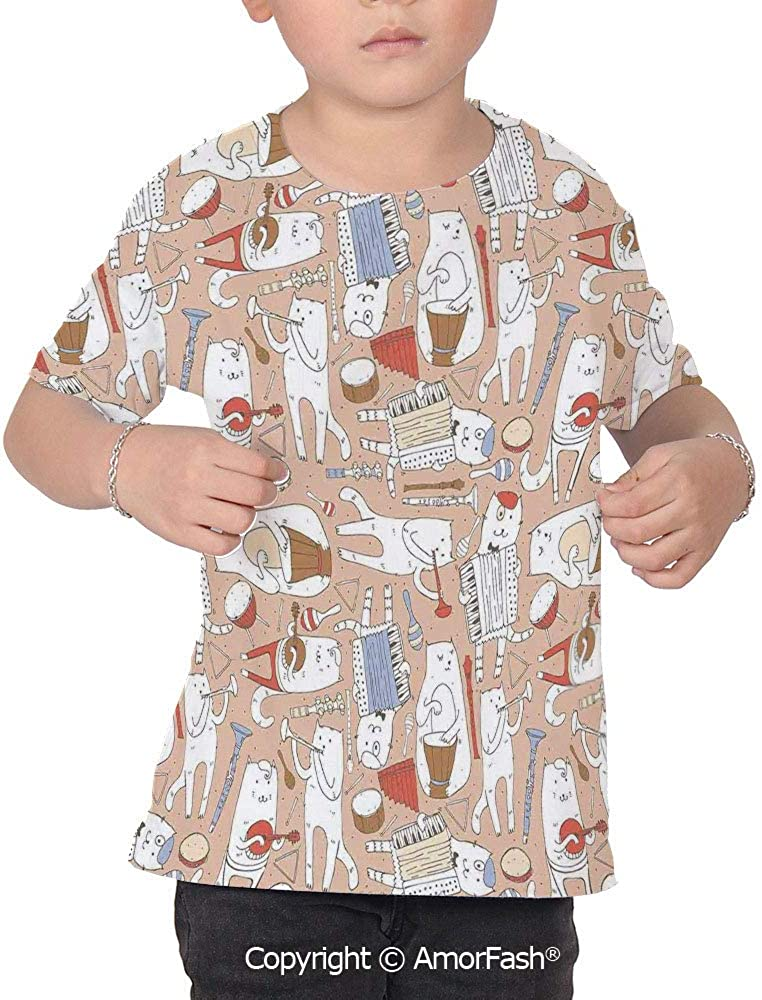 PUTIEN Music All Over Print T-Shirt,95/% Polyester,Childrens Short Sleeve T-ShirtCartoo