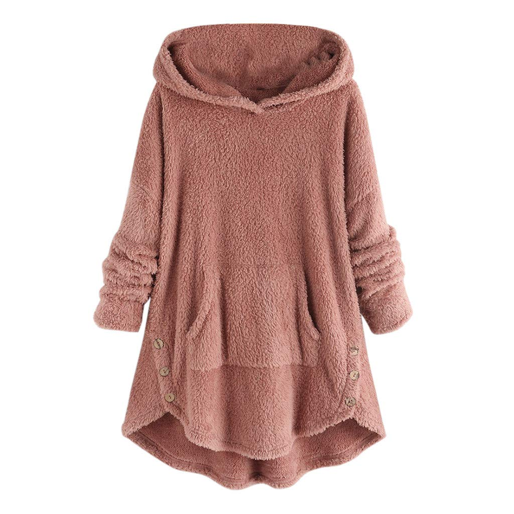 Gleamfut Large Size Women's Plush Hooded Overcoat Long Sleeve Irregular Hem Tops Sweater Hoodies Pink by Gleamfut