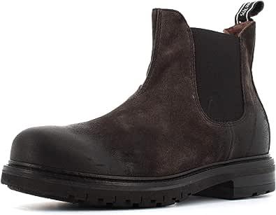 Hombre Polaco NeroGiardini I001853U con Lateral elástica del Ante Carbone. Un Zapato cómodo Adecuado para Todas Las Ocasiones. Otoño / inverno2020-2021.