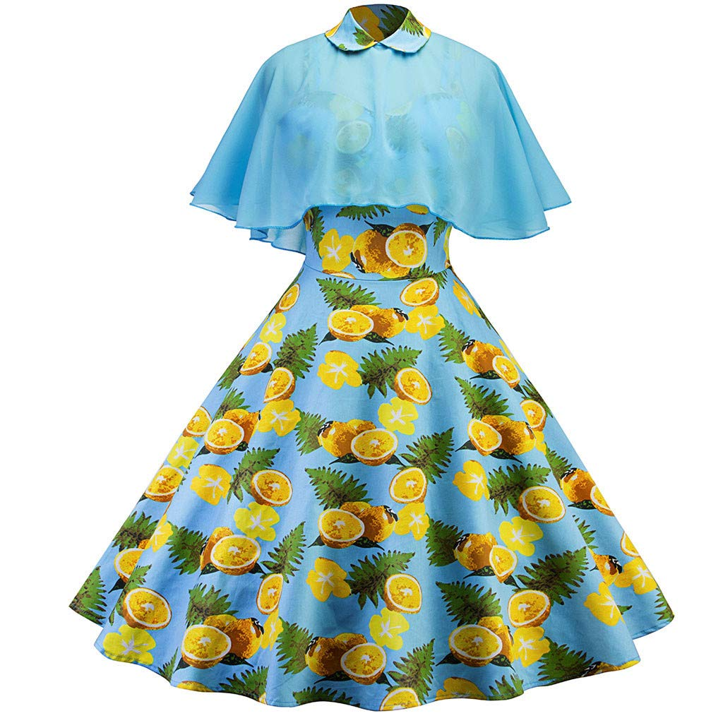 Women Prom Ballgown ✿✿ Ladies Vintage Floral Print Cocktail Fancy Evening Dress Pleated Swing Swirt