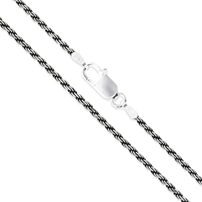 Sterling Silver Diamond-Cut Oxidized Rope Chain 1.5mm 925 Antiqued Necklace