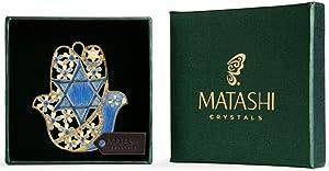 Matashi Hanging Hamsa Wall Decor Ornament with Crystals (Pewter) Decoration Good Luck Home Decor Jewish Wall Mounted Art Hanging Pendant Charm Spiritual Gift for Holiday Festival(Star of David)