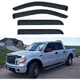 LQQDP Set of 4 Front+Rear Smoke Sun/Rain Guard Outside Mount Tape-On Acrylic Window Visors compatible with 09-14 F-150…